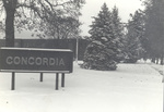 Winter scene with Concordia sign by Concordia University - Portland